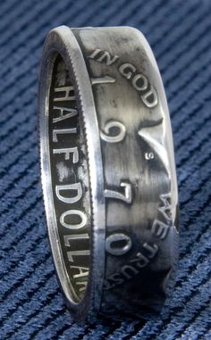 1970 JFK Kennedy 40% Silver US Half Dollar Double Side Coin Ring Size 8-16 45th Birthday Gift Silver Coin Rings 45 Year Wedding Anniversary