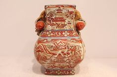 Beautiful Orange And White Rectangular Porcelain Vase Village Scene 8.5""