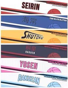 Seirin, Kaijo, Shutoku, Touou Gakuen, Yosen and Rakuzan team!