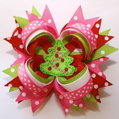 hair bow ideas | Christmas Bow. | Hair bow ideas