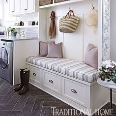 Mud room magic! When I get to build a house this is definitely on my list of must-haves. Bring the mud room to Australia!!  Image via @traditionalhome #interiors #interiordesign #home #build #mudroom #style #storage
