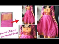 DIY: Convert Old Saree in to Designer Anarakali Dress with 👌Beautiful Neckline Cutting and Stitchin Designer Anarkali Dresses, Designer Dresses, Long Gown Design, Cotton Frocks For Kids, Frock Fashion, London Fashion, New Saree Blouse Designs, Kalamkari Dresses, Celebrity Outfits