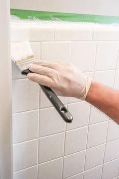 Painting Bathroom Walls, Painting Tile Floors, Painted Tile Bathrooms, Shower Tile Paint, Tile On Bathroom Wall, Clean Bathroom Grout, Neutral Bathroom Tile, Bath Paint, Painting Laminate
