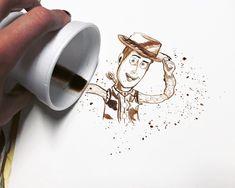 tribute coffeart at Fabrizio Frizzi. Woody Toy Story.