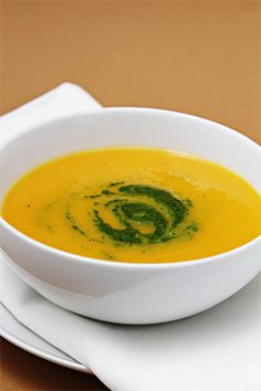 Recipe: Winter Squash Soup Topped With A Flavorful Citrus-Mint Pesto