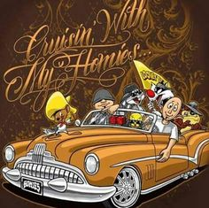 My Homies.with Cruising. Chicano Drawings, Cartoon Drawings, Cartoon Art, Car Drawings, Arte Cholo, Cholo Art, Chicano Love, Chicano Art, Aztecas Art
