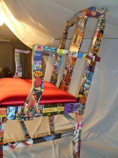 FUN Wild Decopauge Red Chair. Cool idea. I love this idea! decopauge furniture..