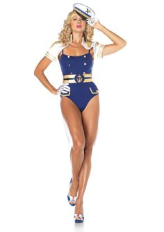 Curvaceous Captain Costume £55.99 Includes ribbon trimmed teddy with anchor button detail, belt with anchor buckle and epaulette shrug with long tails and chain closure.  www.townoftoys.co.uk