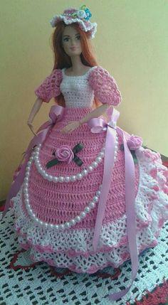 Crochet Barbie Patterns, Crochet Doll Dress, Crochet Barbie Clothes, Barbie Wedding Dress, Barbie Gowns, Barbie Dress, Southern Belle Dress, American Girl Crochet, Cute Baby Dolls