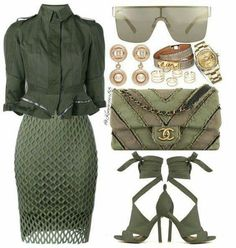 This cure green outfit makes a great workplace clothing selection. #womenclothning.