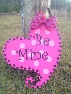 Be Mine Pink Valentines Day Door Hanger by SunDaysDesigns on Etsy, $35.00
