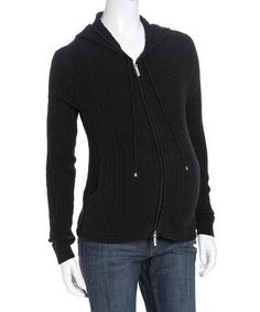Take a look at this Black Maternity Zip-Up Hoodie by Lilo Maternity on #zulily today!