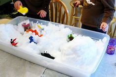Do snow play indoors! A fun idea especially if it would take your whole yard to get that much snow together.