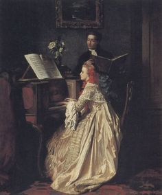 The Music Lesson , 1858 by Jean Carolus (Belgian 1814-1897)