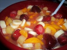 Thanksgiving fruit salad -- peach pie filling makes it special