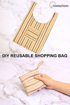 Diy Reusable Bags, Reusable Shopping Bags, Diy Sewing Projects, Sewing Tutorials, Folding Shopping Bags, Bag Patterns To Sew, Fabric Bags, Plastic Spoons, Plastic Bags