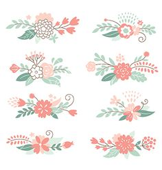 Floral graphic elements vector. Flower doodles by Lenlis on VectorStock®