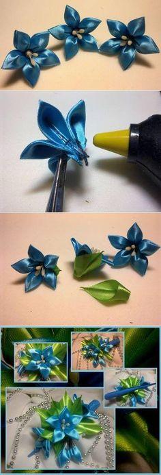 Faça Fácil flores de cetim passo a passo