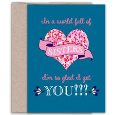 This Brother Card lets him know just how much you love, need and appreciate him. Send it to him on his birthday, or just because. Special Birthday Cards, Unique Birthday Cards, Sister Cards, Sister Gifts, L Got You, Best Sister, Hallmark Cards, Sister Birthday, Little Sisters
