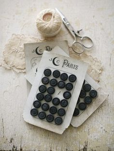 antique french button cards