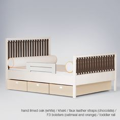 campaign youth bed in oak/white with faux leather straps (brown) Retail Price: $2,645 / SALE PRICE: $1,455 (45% OFF) Eco-friendly faux leather straps. Under-bed 3-drawer storage boxes on casters. Lap joints for strength. NOTE: Item in sale is slightly different in color/style from pictured.