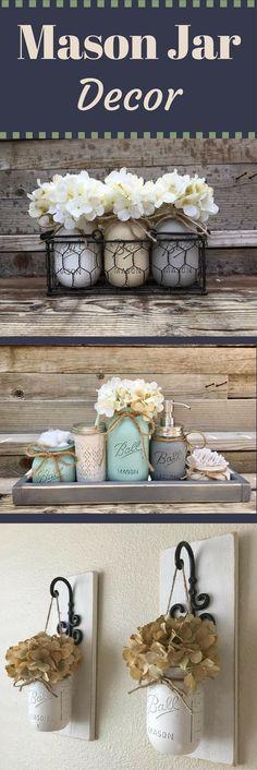 Rustic Farmhouse Mason Jar Decor   Home Decor   Shabby Chic   Housewarming Gift Ideas   Wedding Gift Ideas #affiliatelink