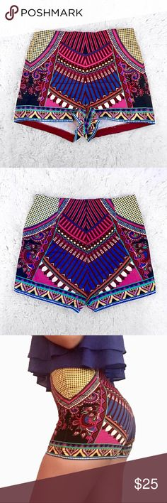 Colorful High-Waisted Shorts 💖 These colorful high waisted shorts are perfect for summer! Zipper in the back Only worn once Fits true to size💖 Flying Tomato Shorts