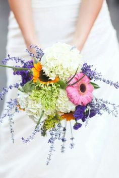 White Hydrangea, Yellow-Orange Sunflowers, Pink Gerbera Daisies, Lavender, Purple Filler, Green Spider Mums, & Green Foliage~~~~