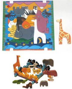 Jungle Animals Wooden Jigsaw Puzzle Toy Montessori toys