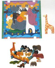 Jungle Animals Wooden Jigsaw Puzzle Toy Montessori toys