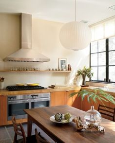 Midcentury Retro Kitchen with a Hint of Zen via Martha Stewart Zen Kitchen, Eat In Kitchen, Kitchen Dining, Kitchen Ideas, Kitchen Decor, Kitchen White, Kitchen Colors, Dining Area, Dining Room