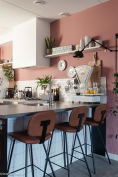 Room Ideas Bedroom, Bedroom Colors, Sitting In A Tree, Wall Bar, Kitchen On A Budget, Pink Walls, Home Kitchens, Kitchen Remodel, Kitchen Decor