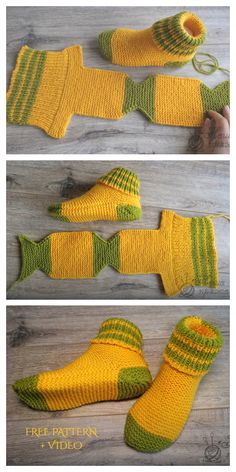Easy Knit One Piece Slippers Free Knitting Pattern + Video - Knitting Pattern Easy Knitting, Loom Knitting, Knitting Stitches, Knitting Socks, Knitting Machine, Knit Slippers Free Pattern, Crochet Slipper Pattern, Crochet Slippers, Baby Slippers