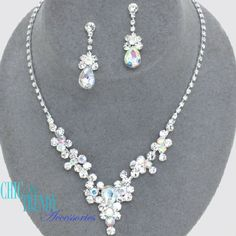 AURORA BOREALIS CLEARCRYSTAL PROM WEDDING FORMAL NECKLACE JEWELRY SET CHIC  #Unbranded