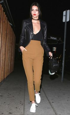 Kendall Jenner pulls off high-waisted pants and sneakers while grabbing dinner -- check our details here!