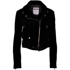 Moschino Classic Biker Jacket (1 230 AUD) ❤ liked on Polyvore featuring outerwear, jackets, moschino, motorcycle jacket, rider jacket, logo jackets and zip front jacket