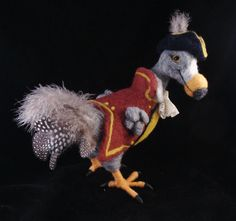 Needle Felted Pirate Dodo Bird - Animal Bird Needlefelted Wool Soft Sculpture by McBride House