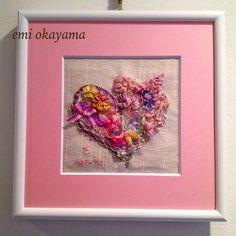 咲き誇る花を見て。20cm角額。リボン刺繍、コラージュ。|ハンドメイド、手作り、手仕事品の通販・販売・購入ならCreema。