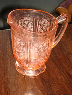 Cherry Blossom Pink Depression Glass Large Pitcher