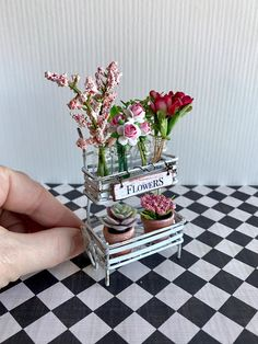 Miniature flower cart dollhouse garden plants and flowers