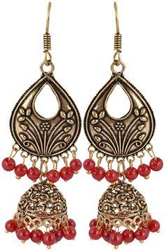 Buy Waama Jewels Golden Brass Jhumki Earrings for Women ethanic wear Earring Fusion Jewellery, Daily wear, Gift for Girl Earring, boho jewelry Earring, Stripe Earrings Online at Low Prices in India | Amazon Jewellery Store - Amazon.in