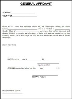 Affidavit Form Template | Free Word Templates   Affidavit Templates  Bill Of Sale Generic