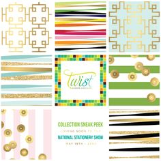 National Stationery Show Sneak Peek for Twist Paper!  www.TwistPaper.com.  I like the center, variegated her colors for #1