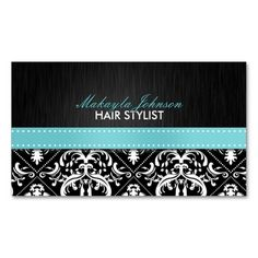 Elegant Black and White Damask with Teal Blue Ribbon Business Card. This great business card design is available for customization. All text style, colors, sizes can be modified to fit your needs. Just click the image to learn more!