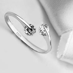 Buy Match Made In Heaven Two Diamonds Have Come Together On A Sterling Silver Ring by Vista Shops on OpenSky