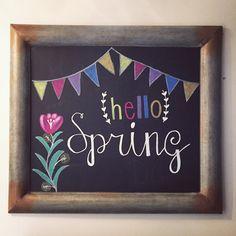 Spring chalkboard art Hello spring - Chalk Art İdeas in 2019 Chalkboard Pictures, Chalkboard Doodles, Chalkboard Art Quotes, Blackboard Art, Chalkboard Print, Chalkboard Lettering, Chalkboard Designs, Summer Chalkboard Art, Christmas Chalkboard