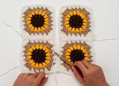 The Sunflower Blanket Crochet Pattern by BrennaAnnHandmade - Z 2019 Crochet Square Blanket, Granny Square Crochet Pattern, Afghan Crochet Patterns, Crochet Squares, Crochet Motif, Crochet Designs, Crochet Stitches, Double Crochet, Easy Crochet