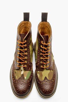 MARK MCNAIRY Khaki Camo Shortwing Boots.