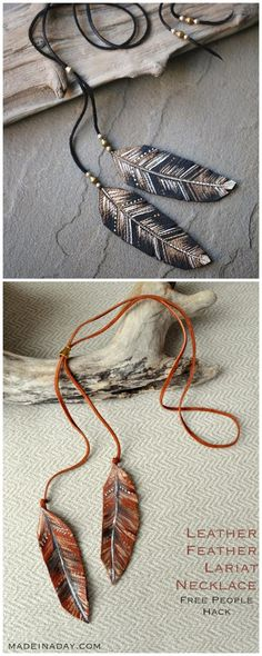 DIY Feather Necklace Tutorial and Template from Made in a Day.This knockoff DIY Feather Necklace or Lariat is made with painted and cut leather. Top Photo: $98 Free People Feather in the Wind Lariat in rust.Bottom Photo: DIY by Made in a Day.For a huge archive of the best DIY knockoffs of all kinds go here: truebluemeandyou.tumblr.com/tagged/knockoffs For more color ideas, here are the rust and cream versions of the Free People feather lariats