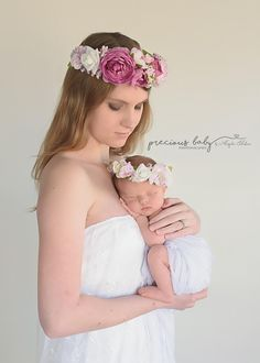 Beautiful mother in white lace gown holding newborn baby girl. Both wearing floral crowns. mom parent child baby Flowers purple pink stunning Precious Baby Photography by Angela Forker New Haven Fort Wayne Indiana Newborn Baby Photography, Maternity Photography, Children Photography, Newborn Sibling, Baby Girl Newborn, Child Baby, Parenting Styles, Kids And Parenting, Tiger Moms